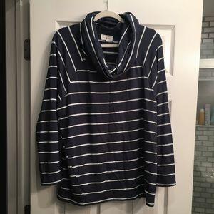 Lou & Grey striped cowlneck top